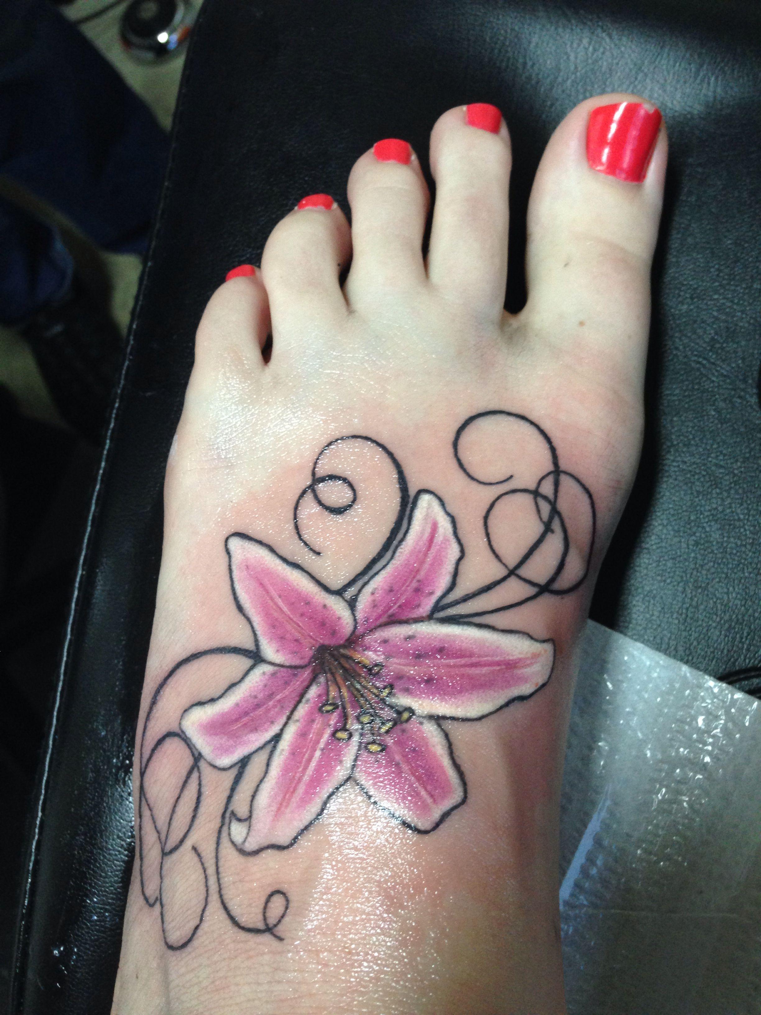 My new foot tattoo stargazer lily tattoo ideas pinterest my new foot tattoo stargazer lily izmirmasajfo
