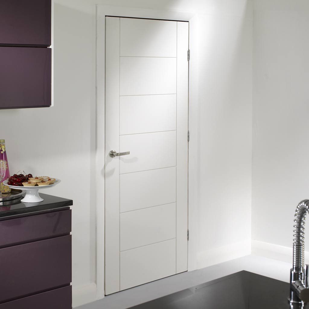 Palermo White Internal Door   Popular Contemporary Interior White Primed  Door With A Familar Composition Of Vertical And Horizontal Grooves.