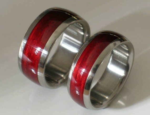 Anium Wood Wedding Ring Set Cherry Bahama Wooden Inlay Bands