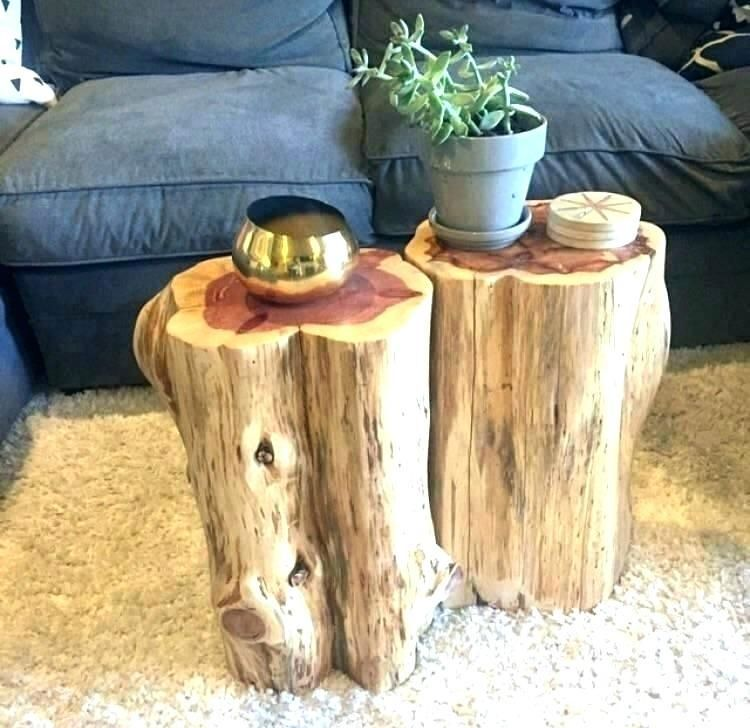 More Click Wood Stump End Tables Stump Side Wooden Stump End