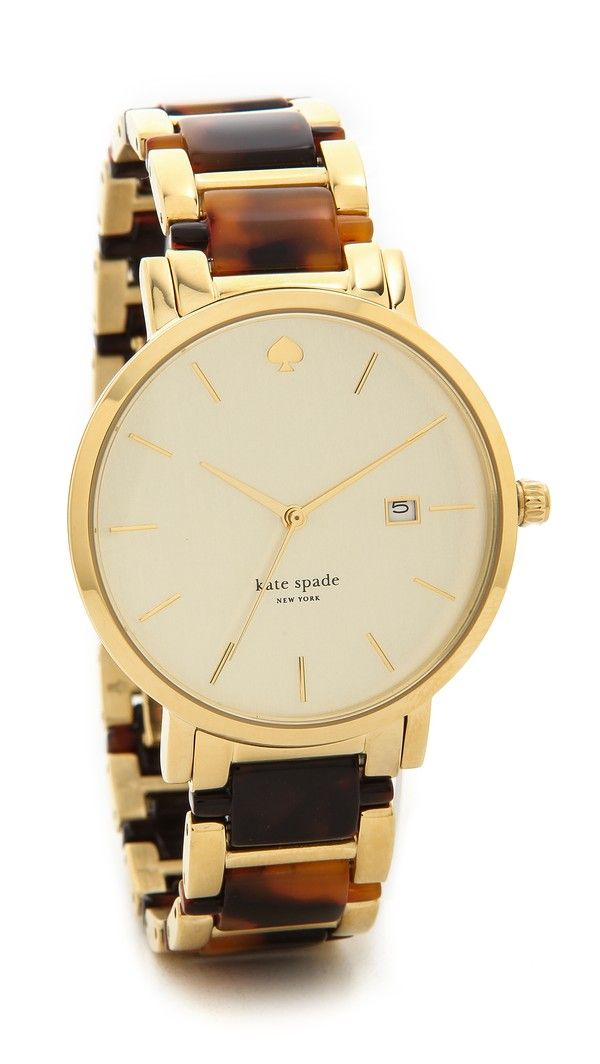 Kate Spade New York Gramercy Grand Chronograph Watch Two Tone Tortoise