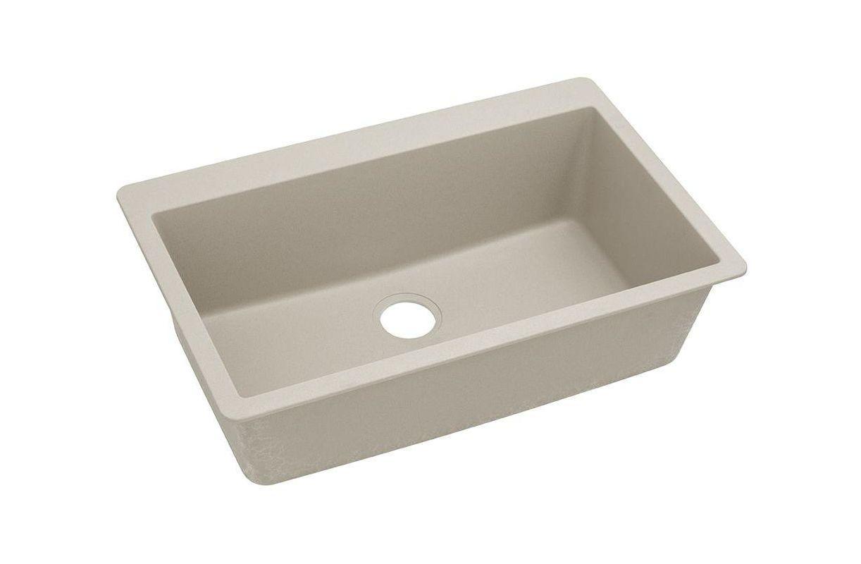 "Elkay ELGR13322 Gourmet 33"" Single Basin Granite Composite Kitchen Sink for Drop"