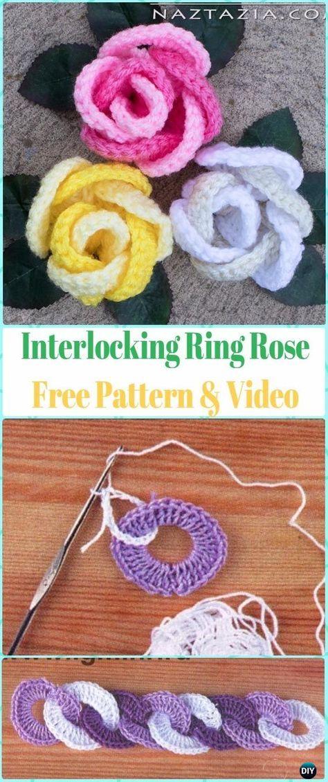 Crochet 3D Interlocking Ring Rose Flower Free Pattern & Video ...