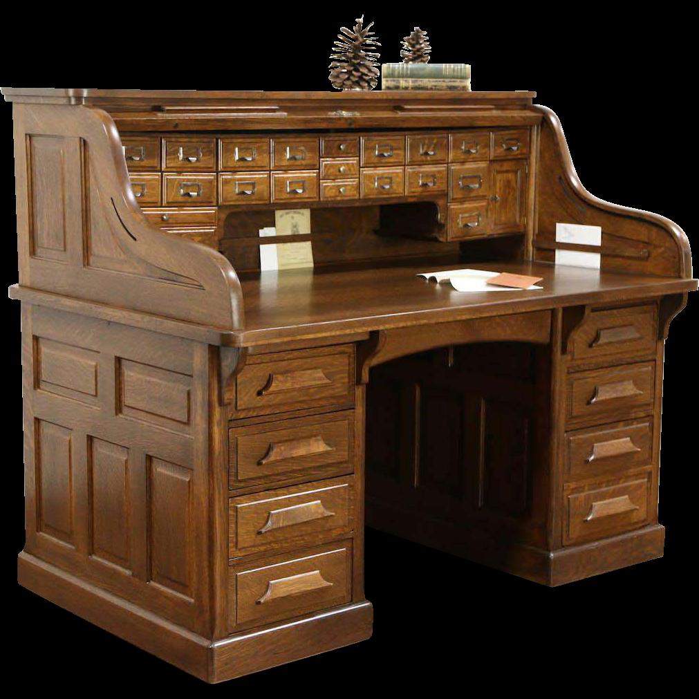 Raised Panel 1900 Antique Quarter Sawn Oak S Roll Top Desk Signed Gunn Pergola Mobili Ufficio