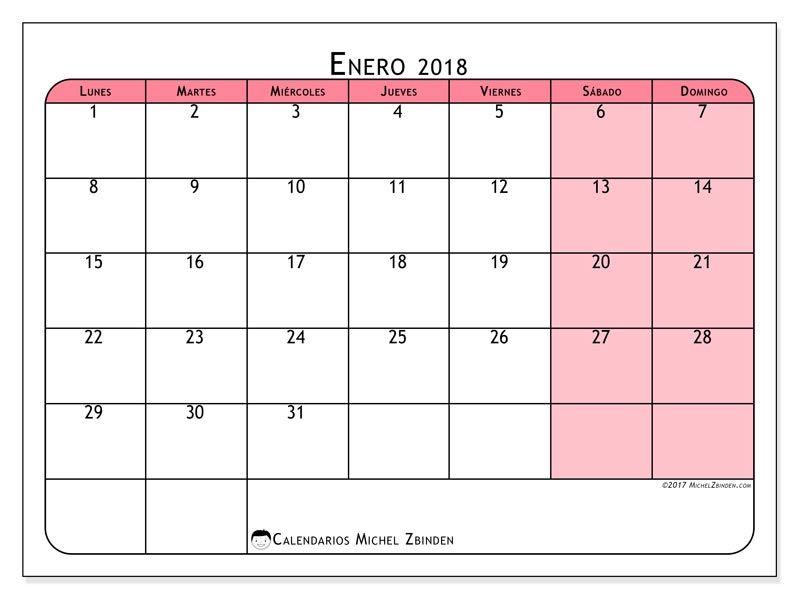 Gratis! Calendarios para enero 2018 para imprimir | Decorar ...