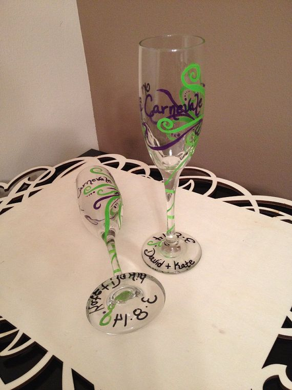 Mr & Mrs champagne glass set hand painted bride by LivelyLibations  https://www.facebook.com/pages/Lively-Libations-Glass/243800552462322