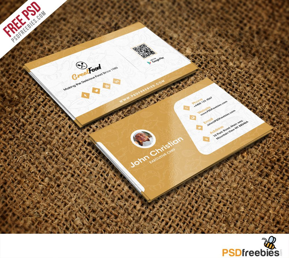 Restaurant Chef Business Card Template Free Psd Psdfreebies Com Free Business Card Templates Restaurant Business Cards Visiting Card Templates