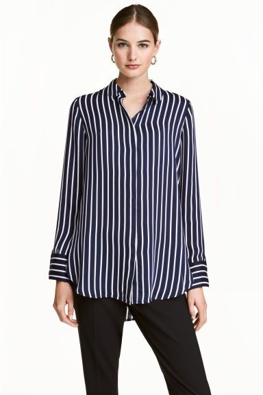 Blusa de manga larga - Azul oscuro/Rayas - | H&M ES