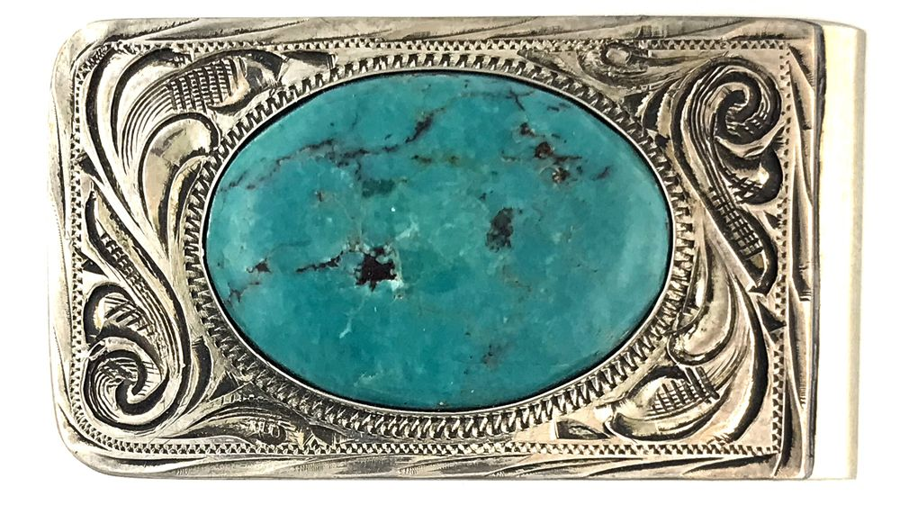 nickle money clip with sterling silver overlay genuine turquoise rh pinterest com