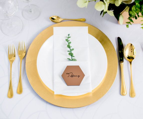 Copper Wedding Place Cards, Engraved Name Card Tiles for Table ...