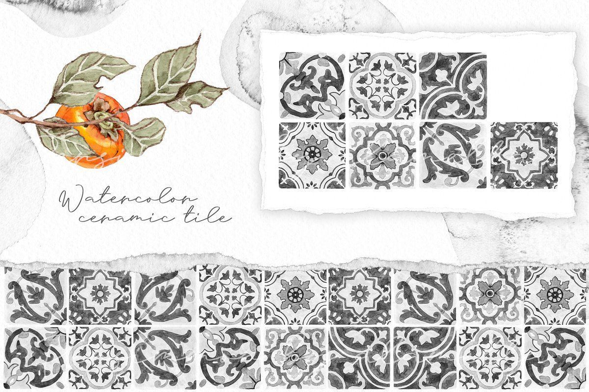 #Persimmon, #Mediterranean, #Ceramic Tile, #Branch, #Fruits, #Orange, #Green, #Wreath, #Watercolor, #Pencil, #Sketch, #Invitation, #Cards, #Leaves, #Seamless Pattern, #Persimmon Branch, #Hand Painted, #Italian Tile