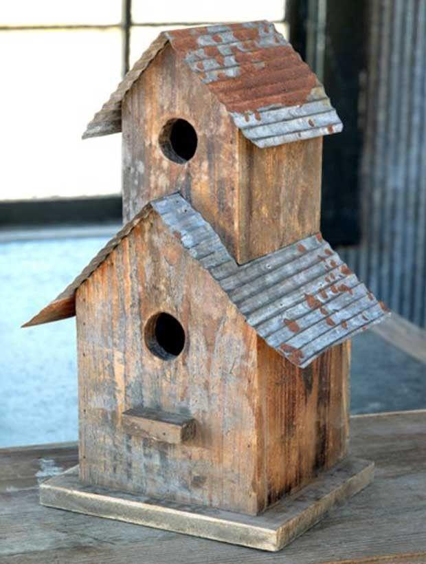 Tin Roof Two Story Birdhouse #birdhouses