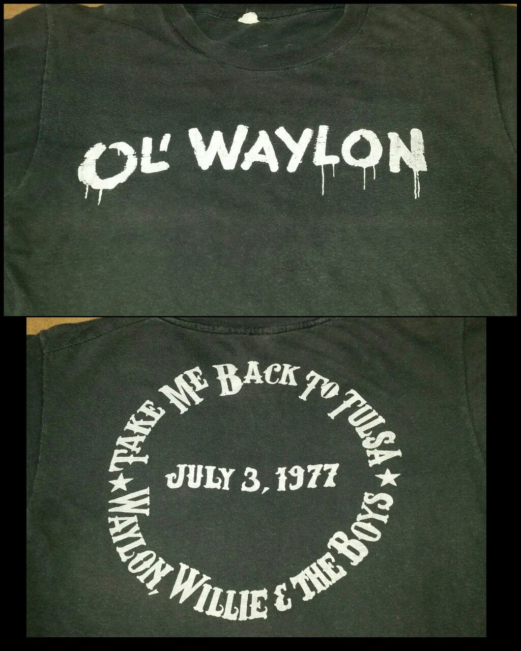 Vintage Waylon Jennings shirt from Willie Nelson's 5th annual picnic July 3, 1977. One of the coolest shirts I've ever seen.