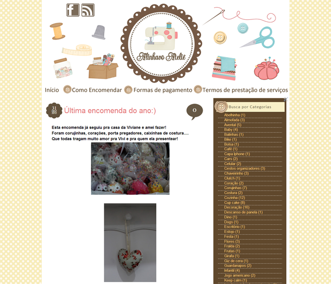 Cantinho do blog Layouts e Templates para Blogger: Encomenda Entregue Alinhavo Ateliê