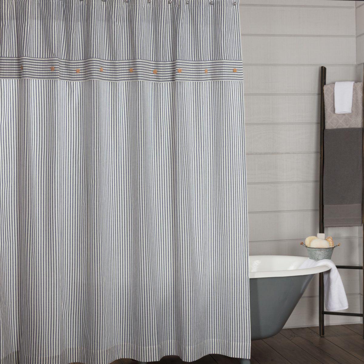 Ticking Stripe Curtains Blue Shower Curtains Ticking Stripe