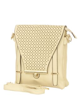 Beige color laser Cut Work Sling Bag for Women, Girls and Ladies ...