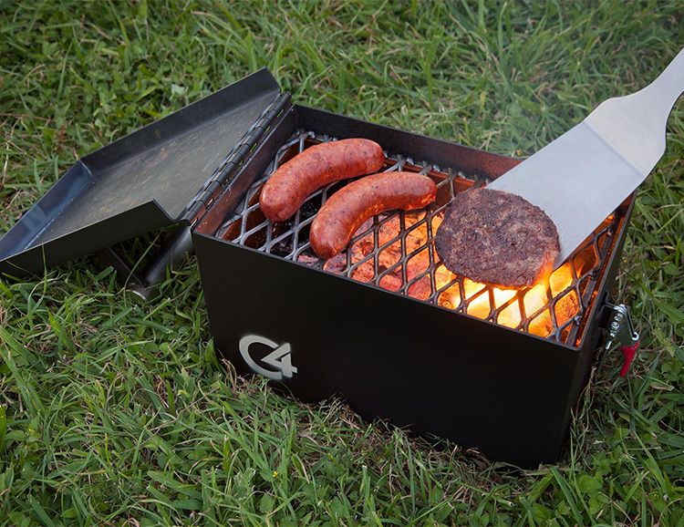 """The C4 Portable is a Small Grill with Serious Firepower.  Yes, it looks like a military ammo box. No accident there. And the C4 Portable Grill is built to be just as tough. It's made of thick 12-gauge steel and features a stainless steel handle. Designed for portability, picnics, and tailgating it features a 12"""" X 7"""" cooking surface and the hinged & latched lid means no spills while in transit. Available in black or military green. Made in Texas."""