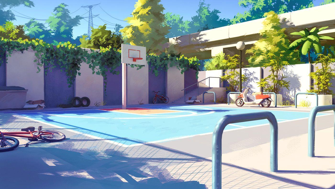 Basketball Ground Basketball Ground Environment Concept Art Anime Places