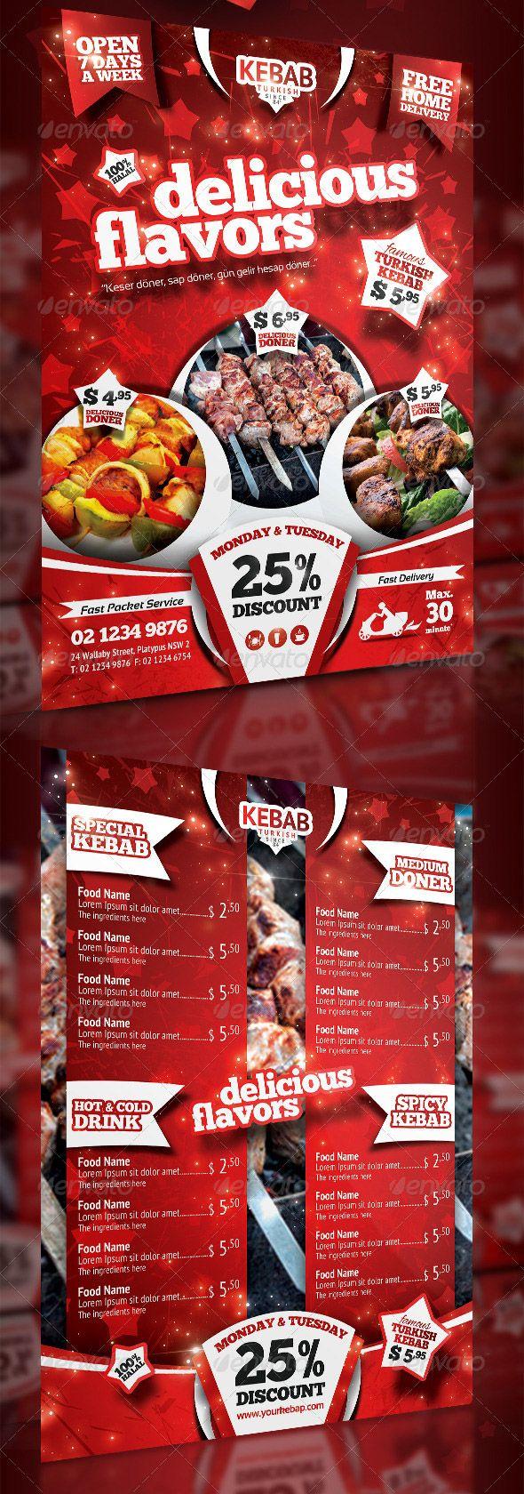 Kebab Menu Flyer PSD Template menu design – Menu Flyer Template