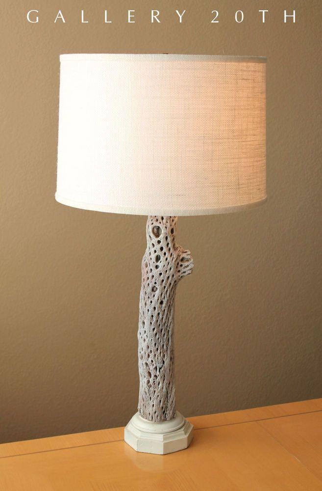 mid century modern desert wood rustic table lamp vtg 50s eames rh pinterest com