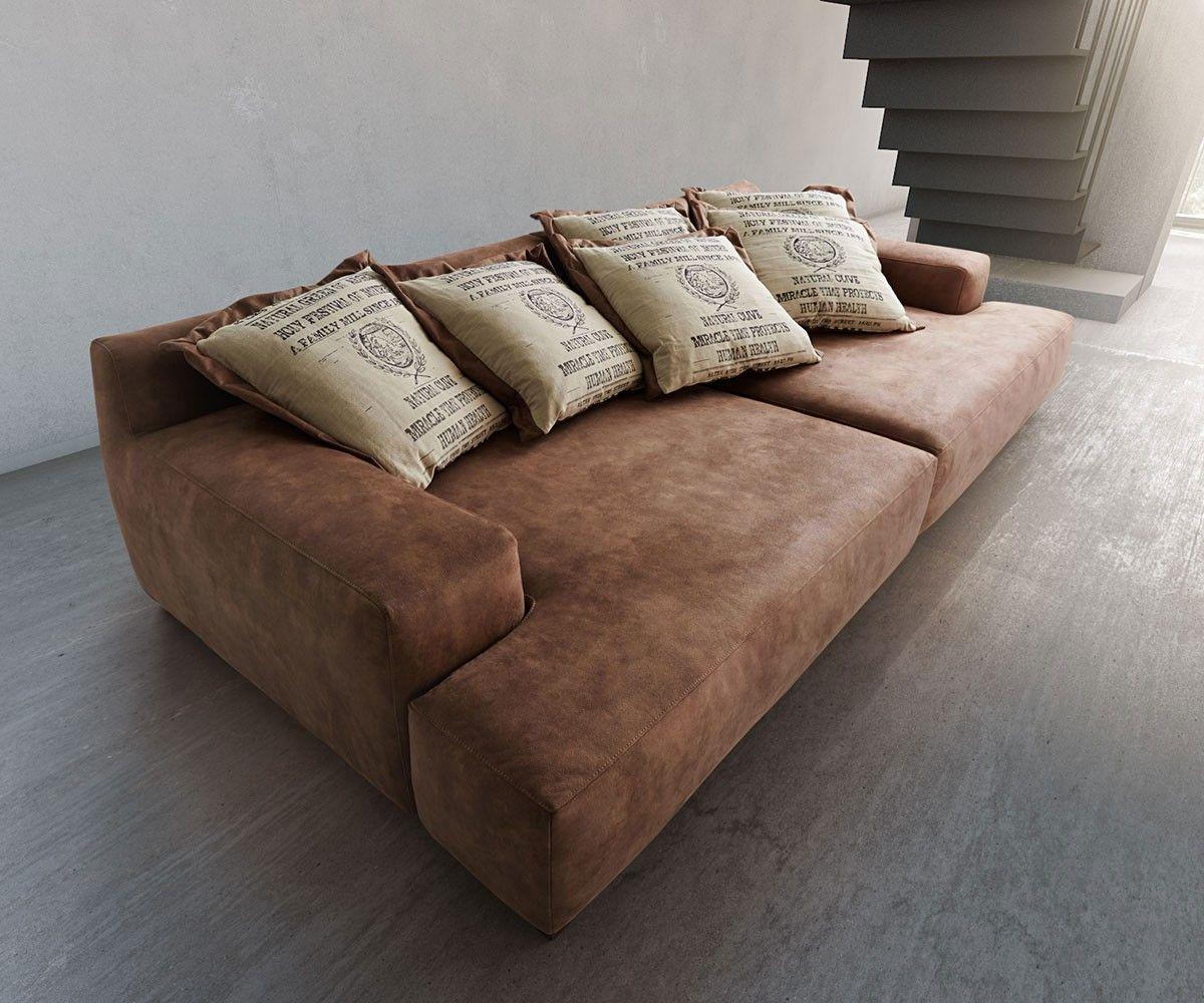 Big-Sofa Cabana 304x140 cm Braun Vintage inkl. 6 Kissen by Ultsch ...