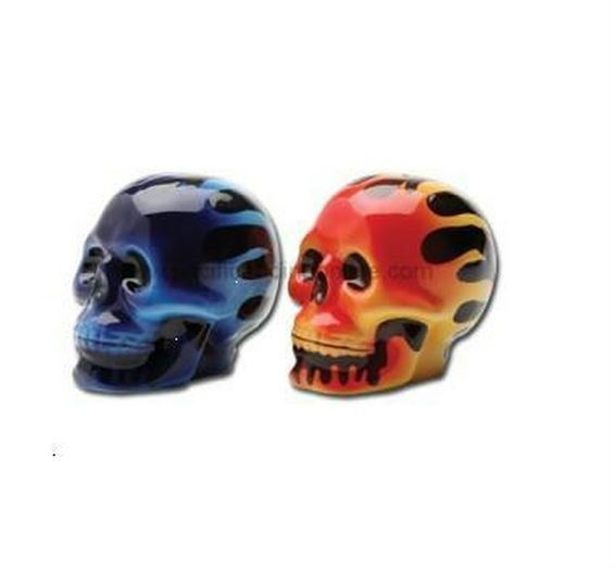 had halloween blue red flaming skull salt pepper rh pinterest com