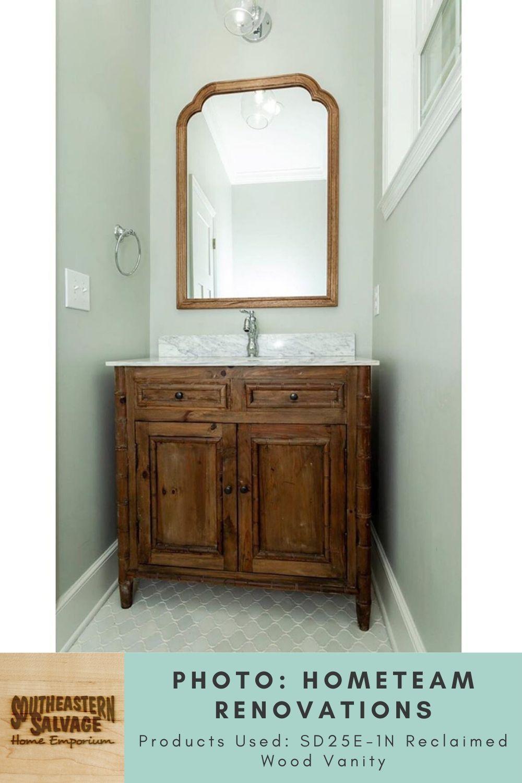 Bathroom By Hometeam Renovations Reclaimed Wood Vanity Southeastern Salvage Home Emporium In 2020 Reclaimed Wood Vanity Wood Vanity Reclaimed Wood