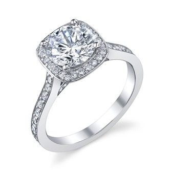 Cushion Halo  14K White Gold Cushion Halo Ring w/ Round Center. Semi Mount Bridal Ring. Center mounting can fit a 1.25ctw round diamond. There are 66 round diamonds with a total carat weight of .42ctw.