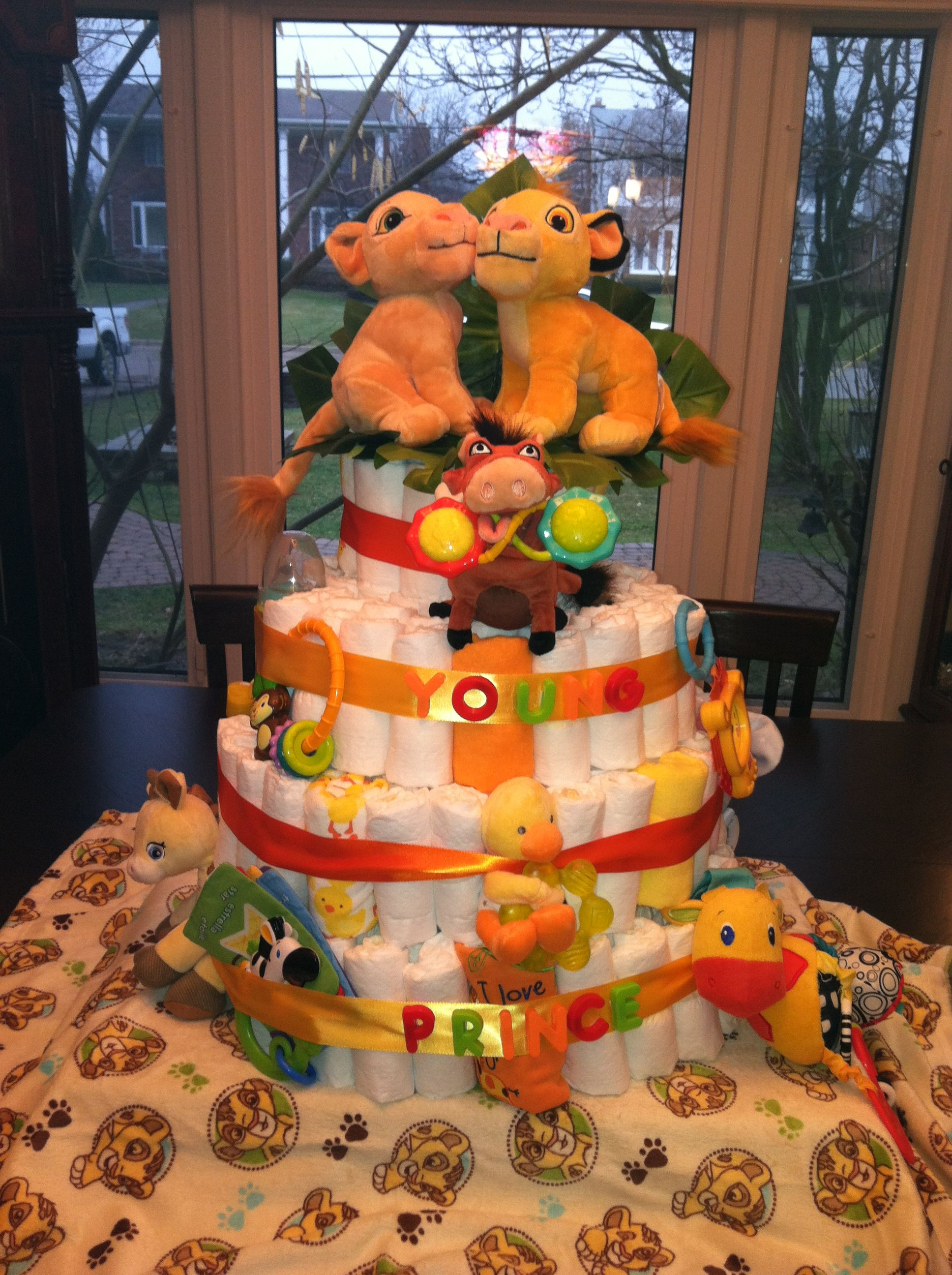 Baby lion king themed diaper cake so cute i want it so