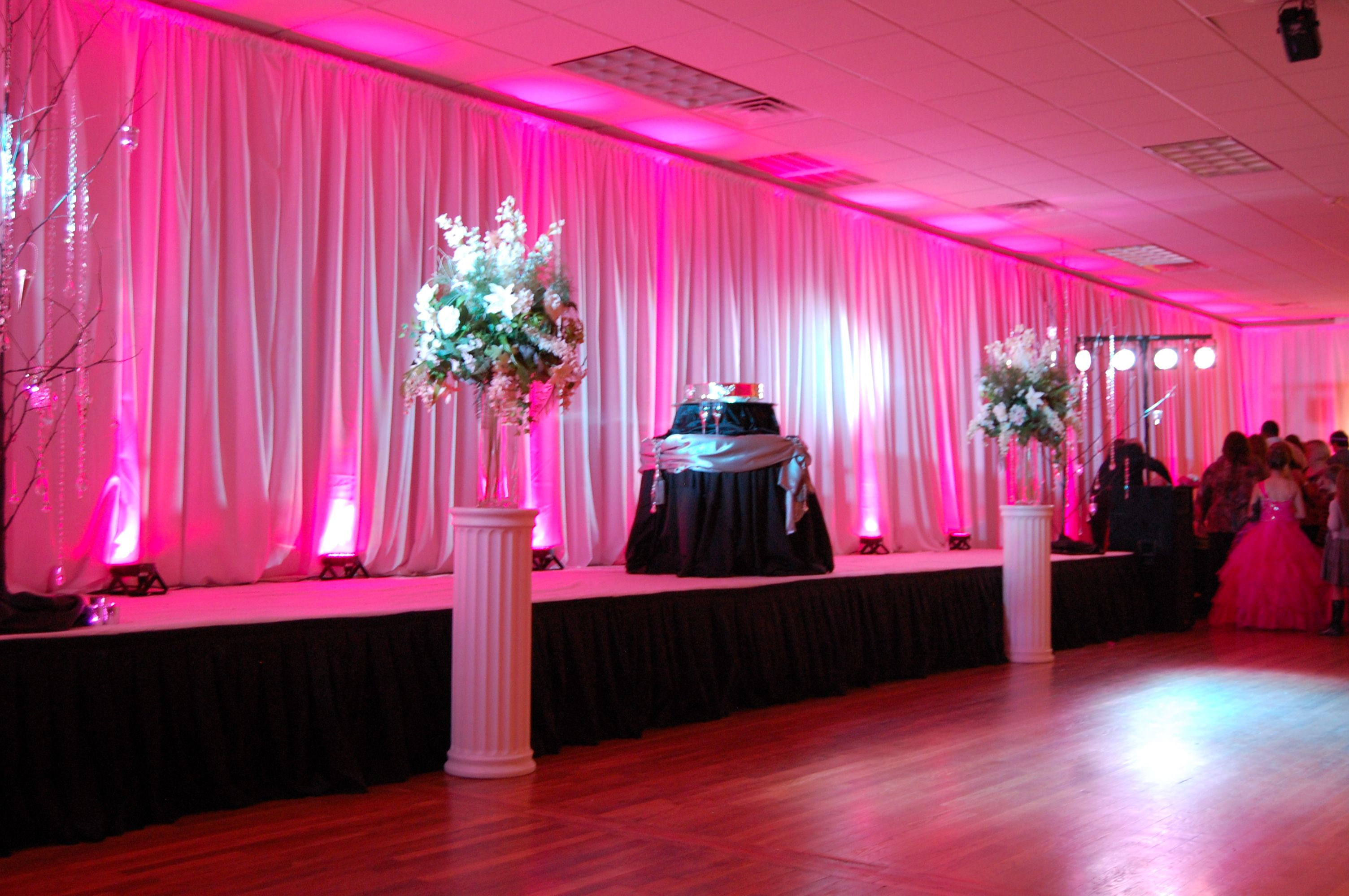 Pink Uplighting A DIY Setup By The Brides Mother RentMyWedding