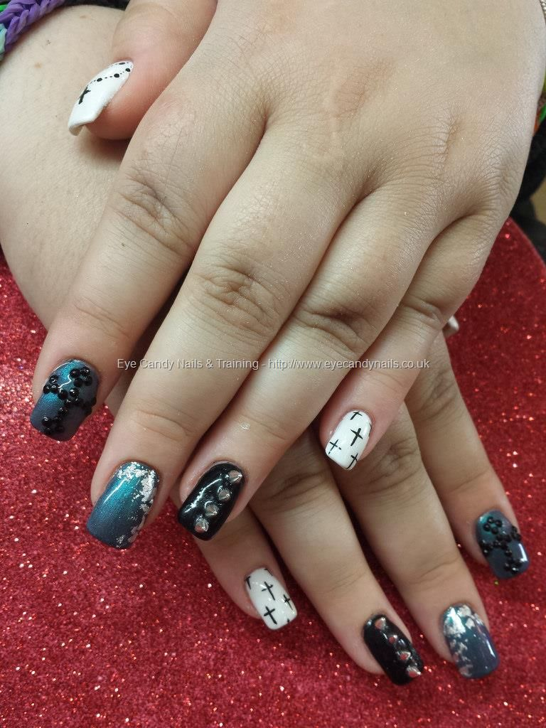 Black and white freehand crosses with studs and spikes