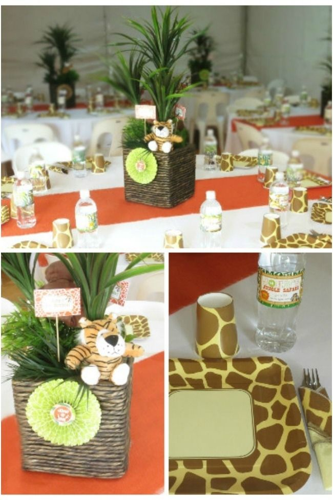 Jungle safari themed first birthday party birthday party Table decoration ideas for parties