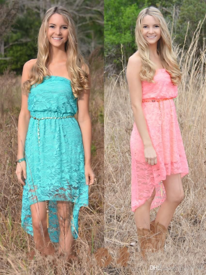 2016 high low lace country junior bridesmaid dresses cheap for Country wedding dresses cheap