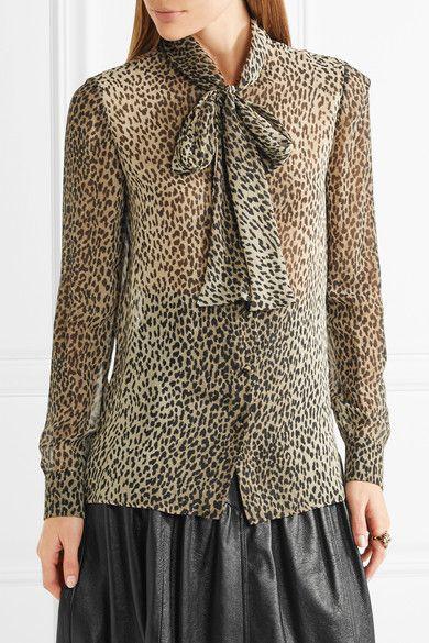 05922299f35d3 Saint Laurent - Pussy-bow Leopard-print Silk-georgette Shirt - Leopard print