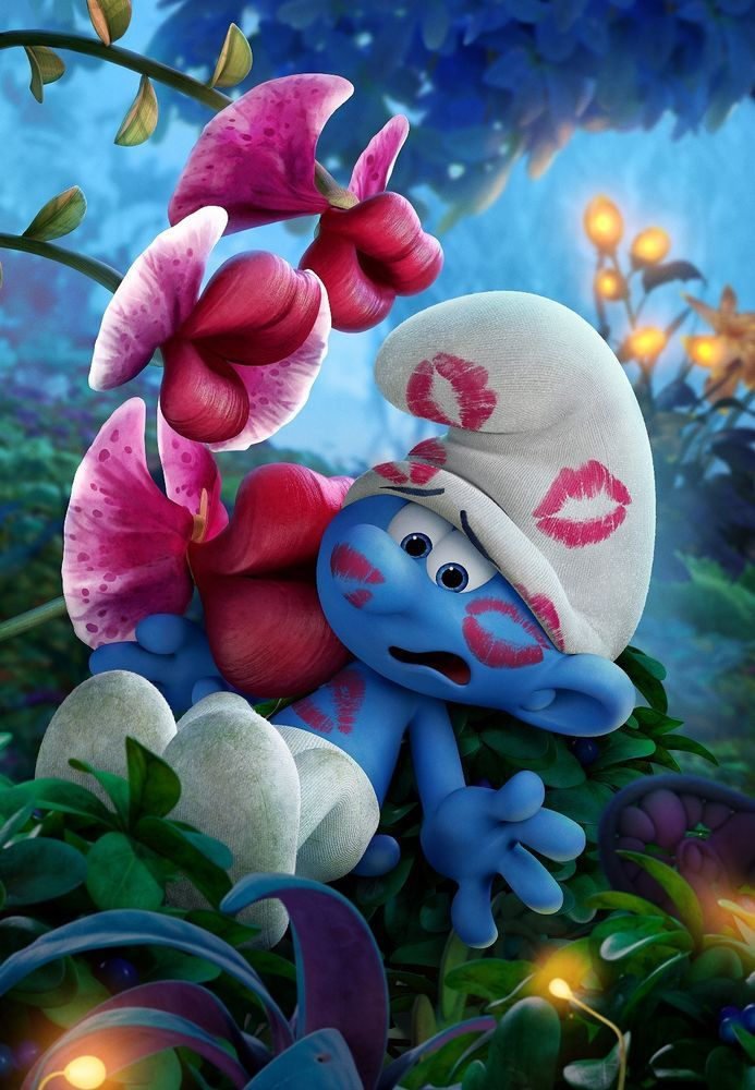 Smurfs The Lost Village Ultra Hi-Res Movie Poster Kissing Plant