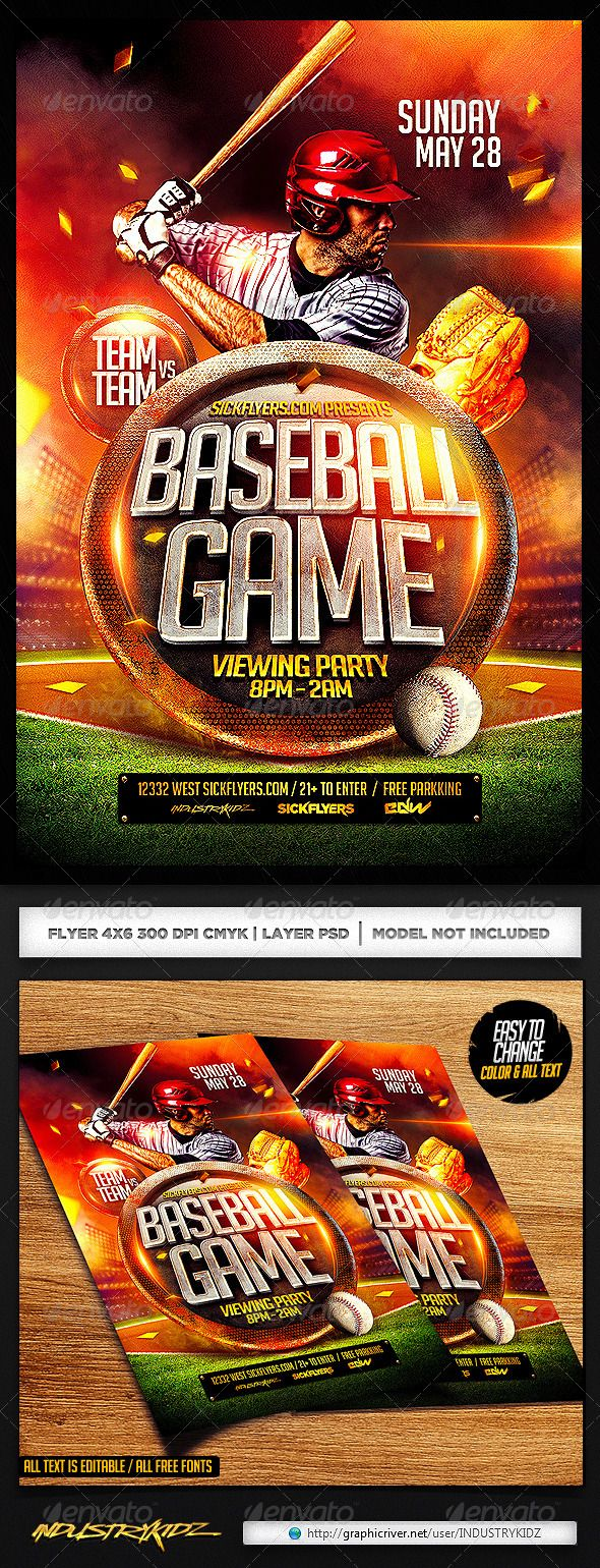 Baseball Flyer Template Psd  Flyer Template Template And Fonts