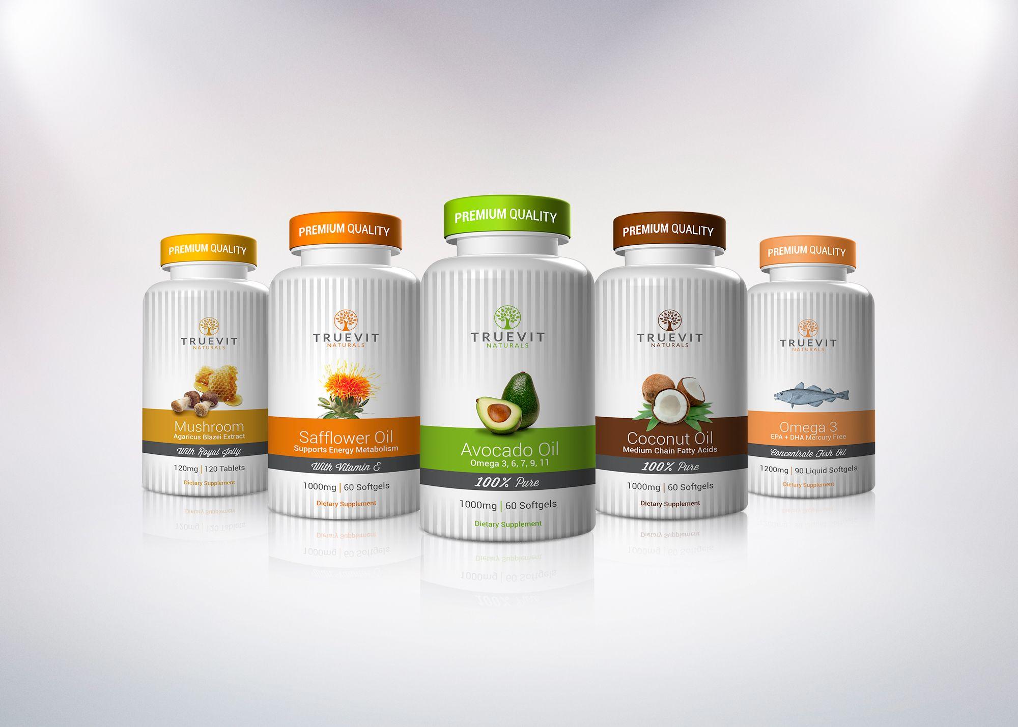 TrueVit Naturals Package Design, Vitamin, Dietary Supplement
