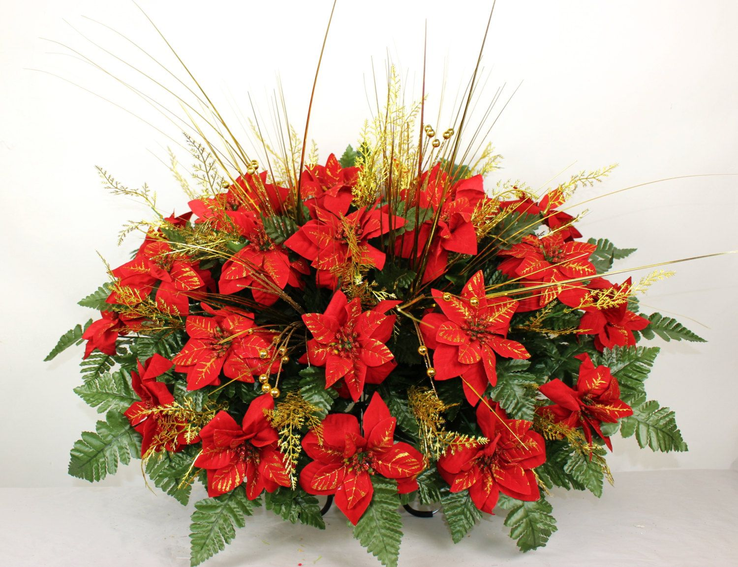 Beautiful XL Red Poinsettia's Cemetery Tombstone Saddle by Crazyboutdeco on Etsy