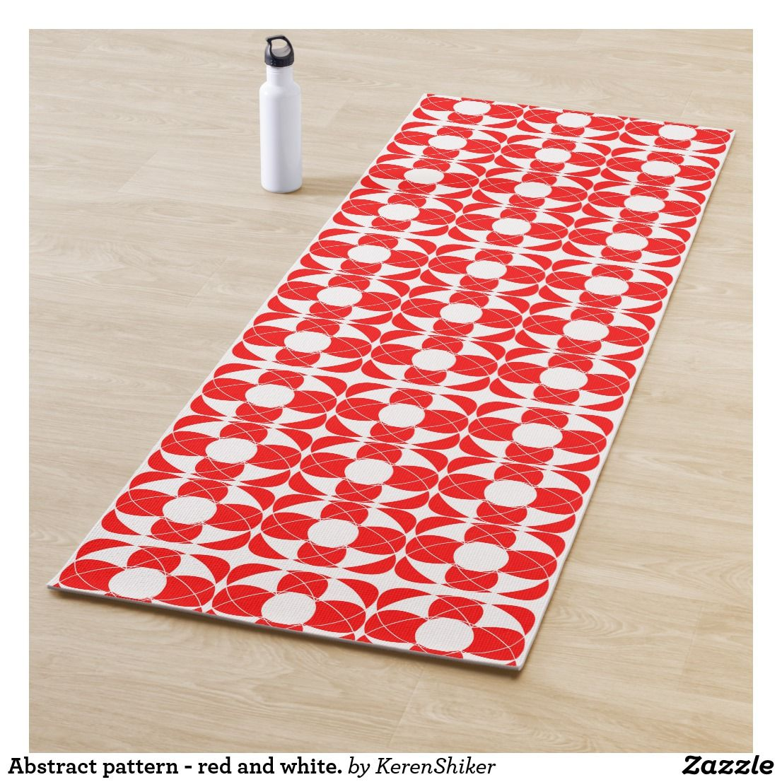 Abstract Pattern Red And White Yoga Mat Zazzle Com Abstract