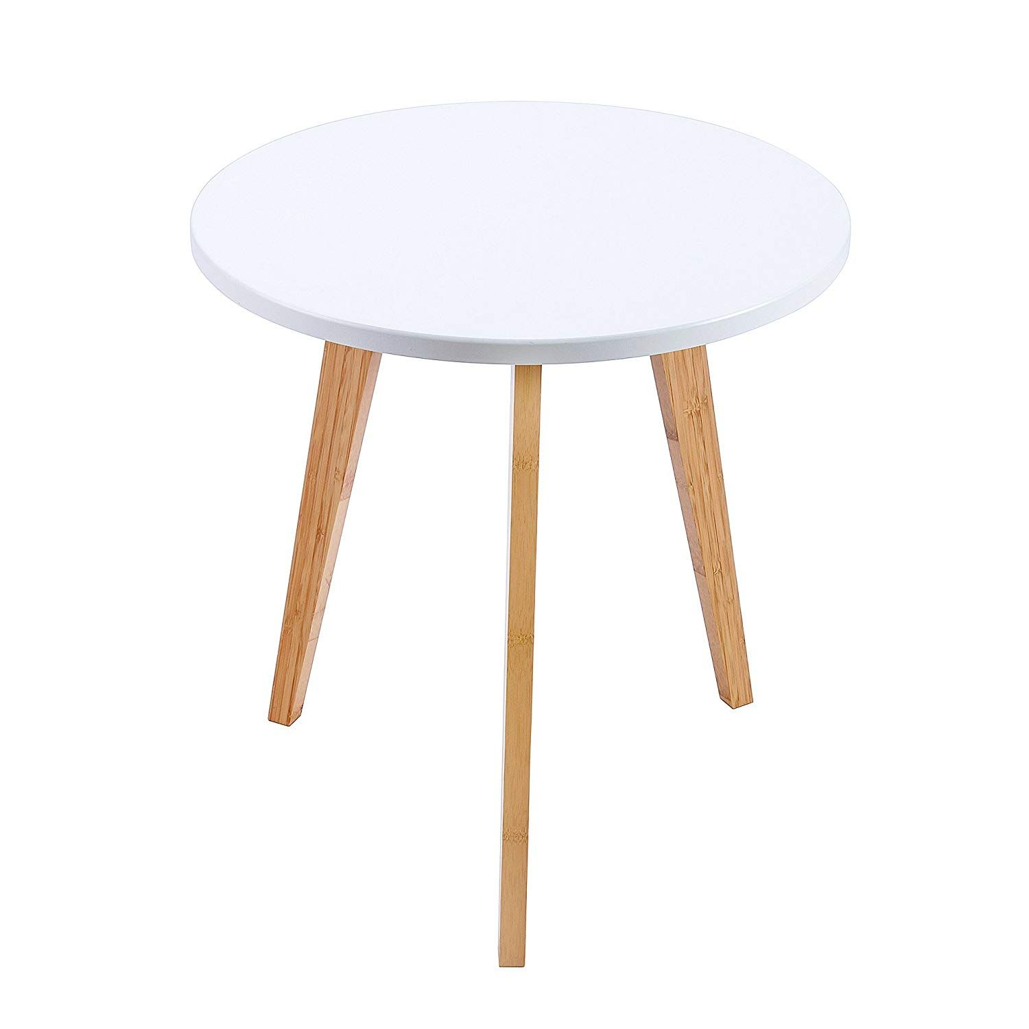 Wilshine Small Round End Table For Small Spaces In Living Room Bedroom With White Table Top And 3 Natur In 2020 With Images Table For Small Space White Table Top White Small Table