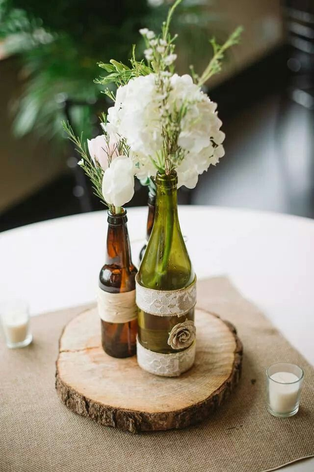 Diy Centerpieces With Beer Wine Bottles And Mason Jars Burlap Squares Wine Bottle Centerpieces Beer Centerpieces Burlap Centerpieces