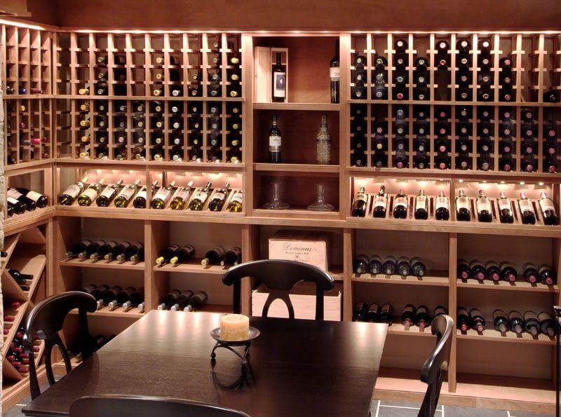 Display Lighting On Individual Wine Racks To Showcase Bottles Of