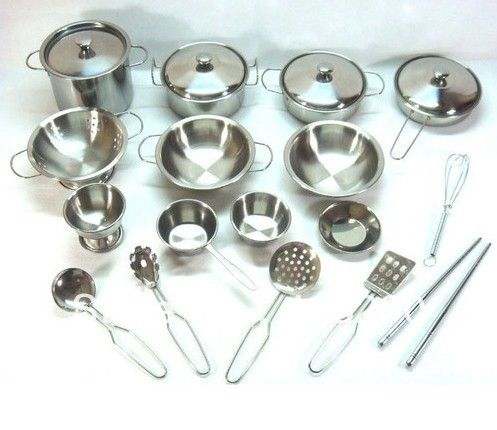 Stainless Steel Kid Toy Kitchen Metal Pot Pan Cookware Pretend Play