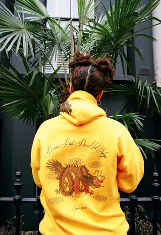 CHINESE DRAGON DESIGN ON A HEAVYWEIGHT GOLD HOODIE-DREAM ...