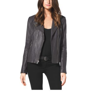 Our new moto jacket will feel like second skin, with notched lapels and supple leather craftsmanship that nod to a chic biker aesthetic. In a cool, versatile color, this piece will add edgy texture to an all-black look.
