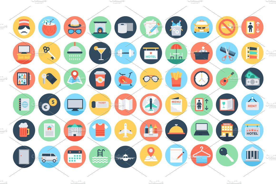 125 Flat Hotel Services Icons Marketing Icon Resources Icon
