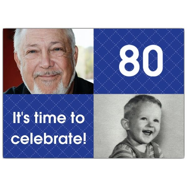 Blue+Stitch+Photo+80th+Birthday+Invitations