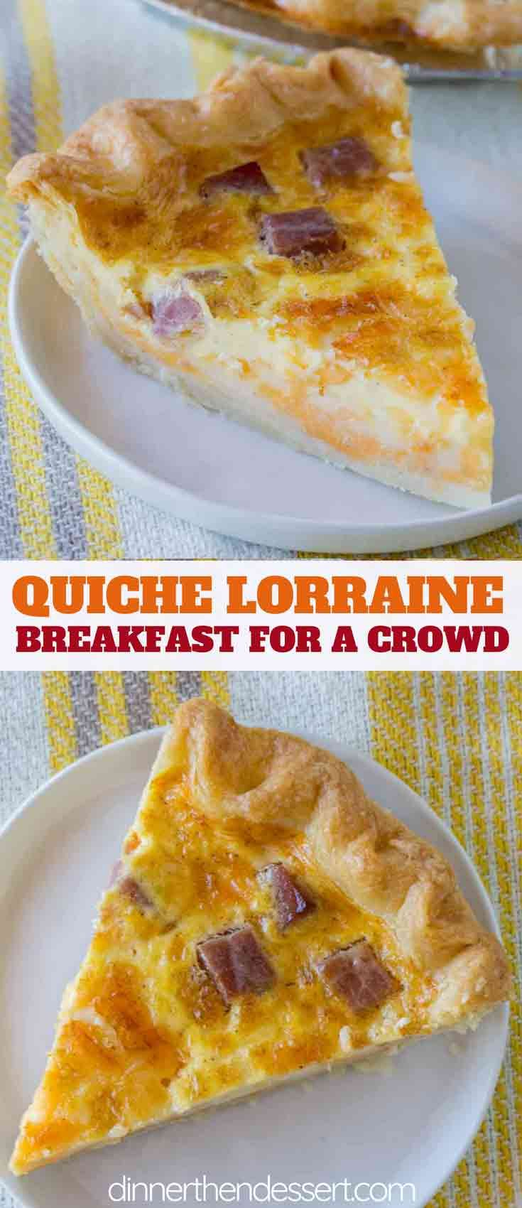Quiche Lorraine made with bacon, onions and swiss cheese in a flaky pie crust makes an easy breakfa
