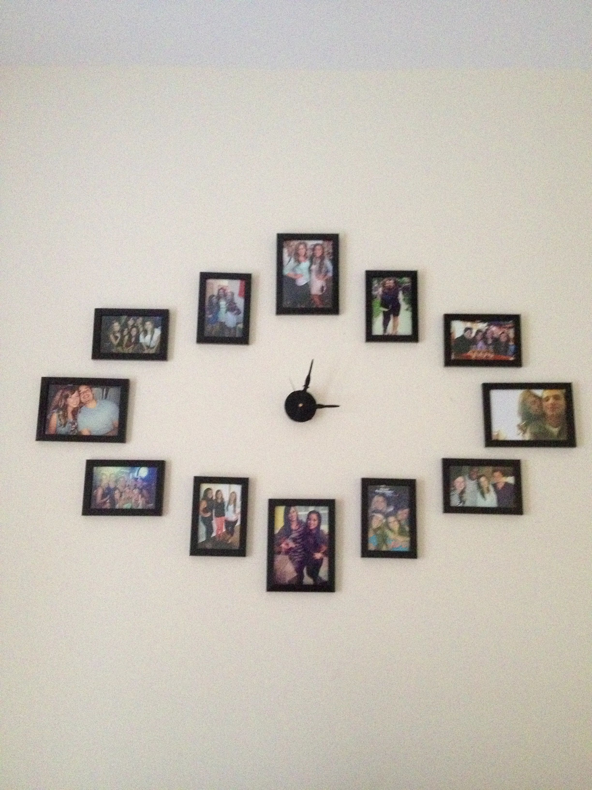 Our Diy Wall Clock Made With 4x6 Picture Frames And 5x7s For 12 00 3 00 6 00 And 9 00 Found The Clock Hands At Michaels Go Decor Home Diy Diy Clock Wall