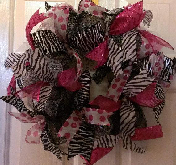 Hey, I found this really awesome Etsy listing at https://www.etsy.com/listing/177987647/deco-mesh-wreath-in-pink-black-and-zebra
